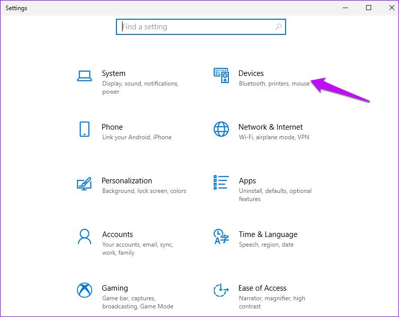 Paramètres Windows sélectionnez Périphériques