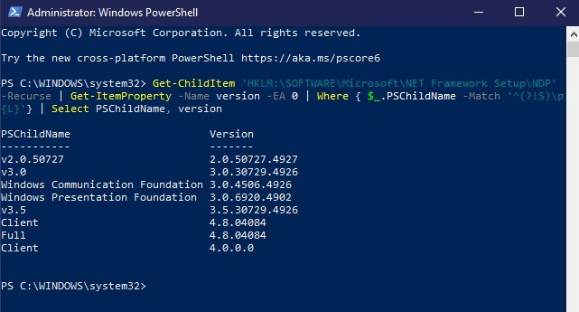 Comment installer Net Framework 20 30 35 dans Windows 10 Powershell