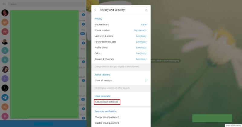 Verrouillage par code de télégramme Cliquez sur Activer le code d'accès local