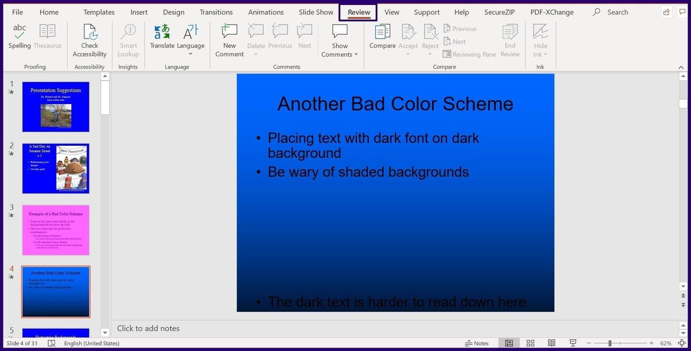 Suivre les modifications sur l'étape 2 de Microsoft PowerPoint