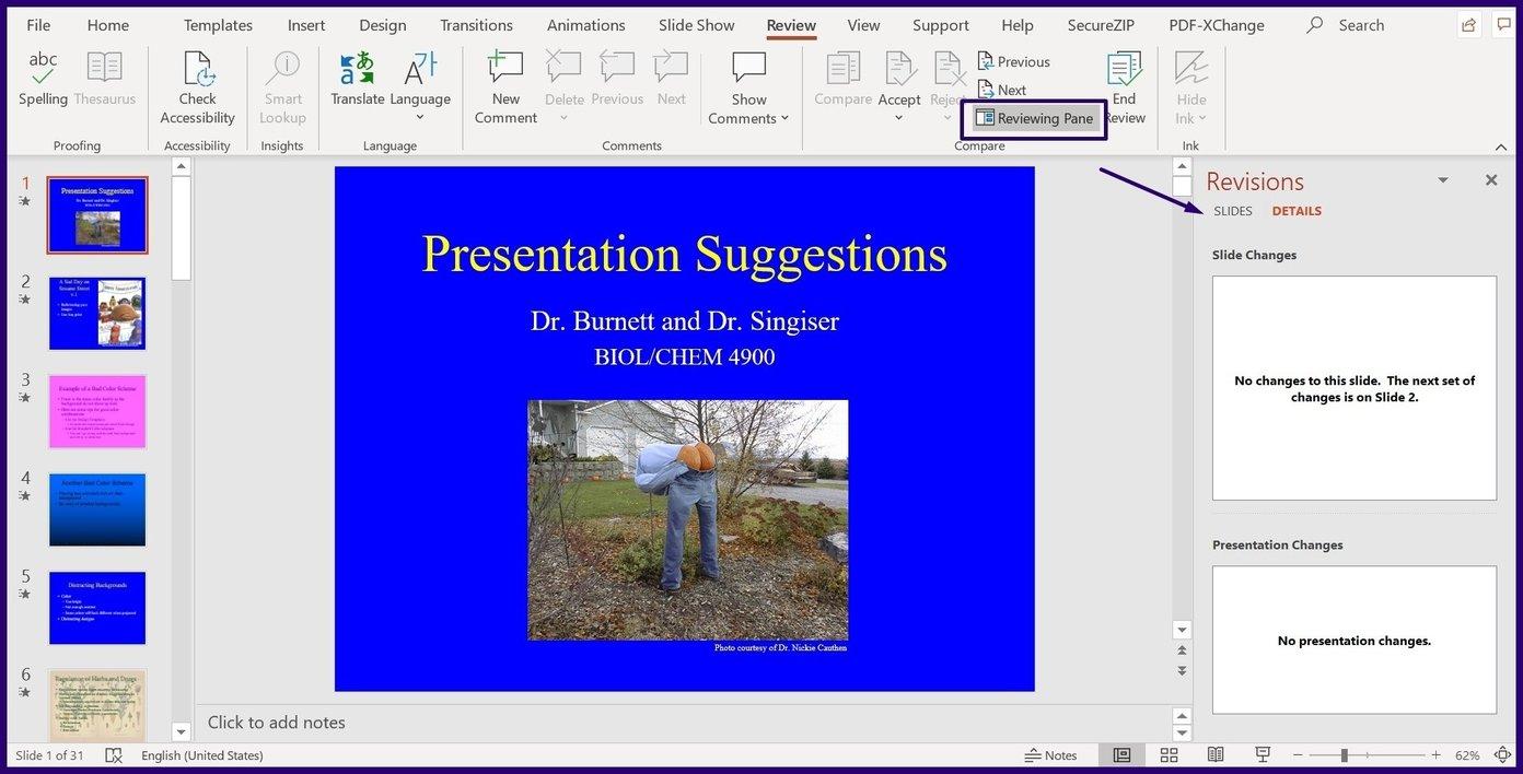 Suivre les modifications sur l'étape 5 de Microsoft PowerPoint