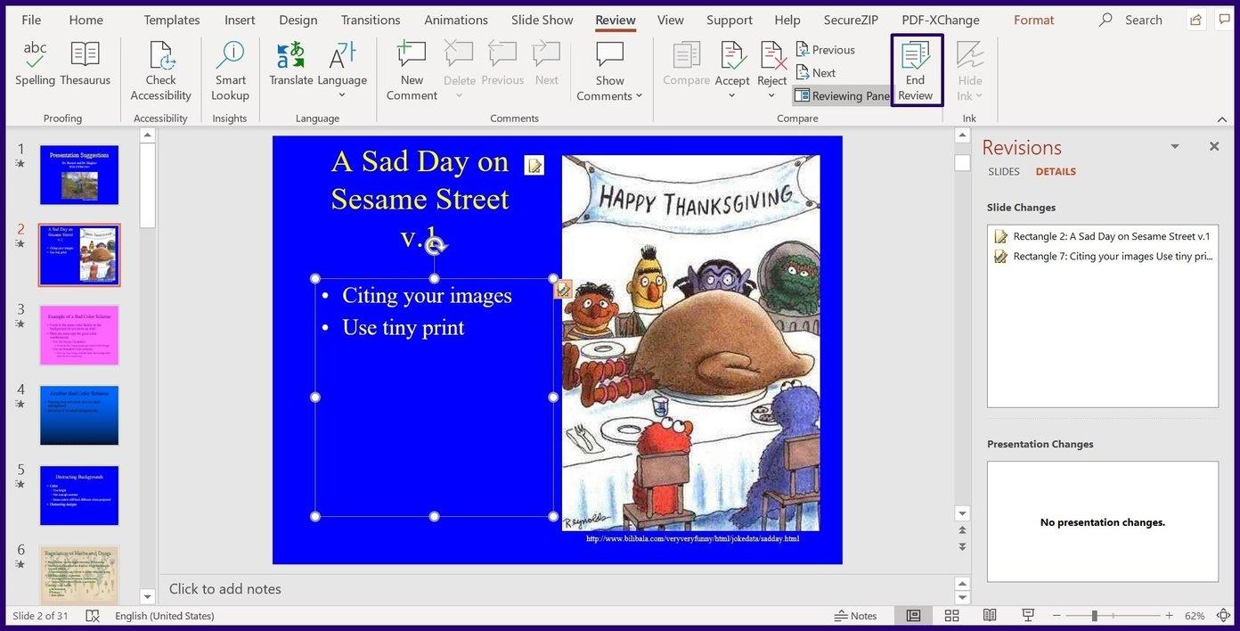 Suivre les modifications sur l'étape 10 de Microsoft PowerPoint
