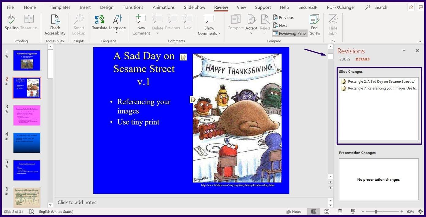 Suivre les modifications sur l'étape 7 de Microsoft PowerPoint