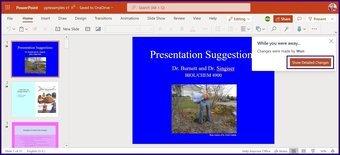 Suivre les modifications sur l'étape 12 de Microsoft PowerPoint