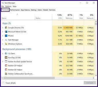 Fermez les applications gelées sur Windows 10 étape 3