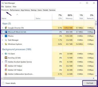 Fermez les applications gelées sur Windows 10 étape 4
