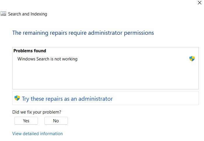 Administrateur de réparations de recherche bloqué Windows11