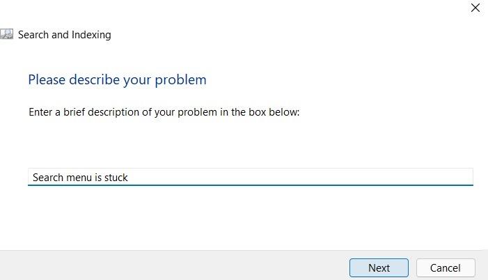 Description du problème de recherche bloquée de Windows11