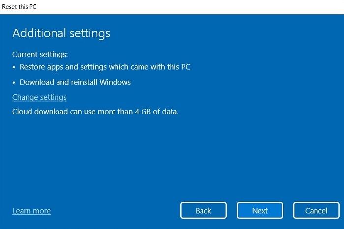 Recherche bloquée Windows11 Réinitialiser les paramètres supplémentaires