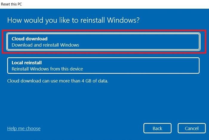 Windows11 Coincé Recherche Réinitialiser Téléchargement Cloud