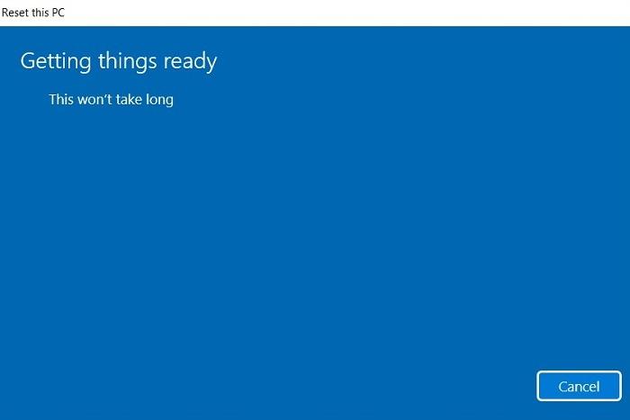 Réinitialisation de la recherche bloquée Windows11 Préparer les choses