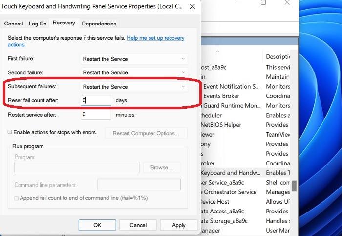 Windows11 Stuck Searchservices Touch Keyboard Échecs Réinitialiser le nombre