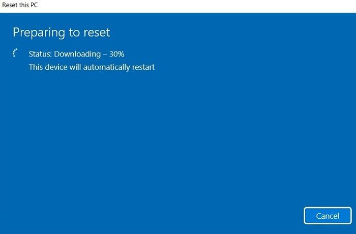 Windows11 Coincé Recherche Réinitialiser Téléchargement