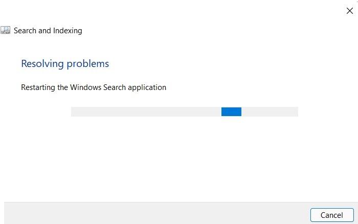 Problèmes de résolution des problèmes de recherche bloquée par Windows11