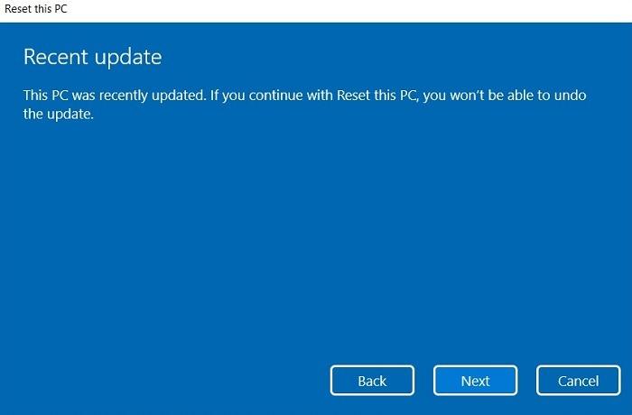 Windows11 Coincé Recherche Réinitialiser Pas d'annulation Mise à jour