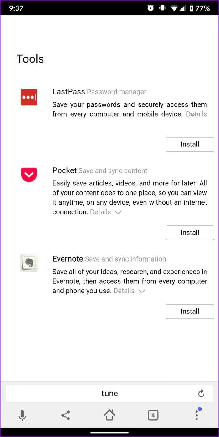 Extensions de navigateur Yandex