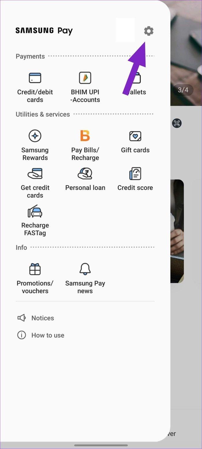 Sélectionnez les paramètres dans Samsung Pay