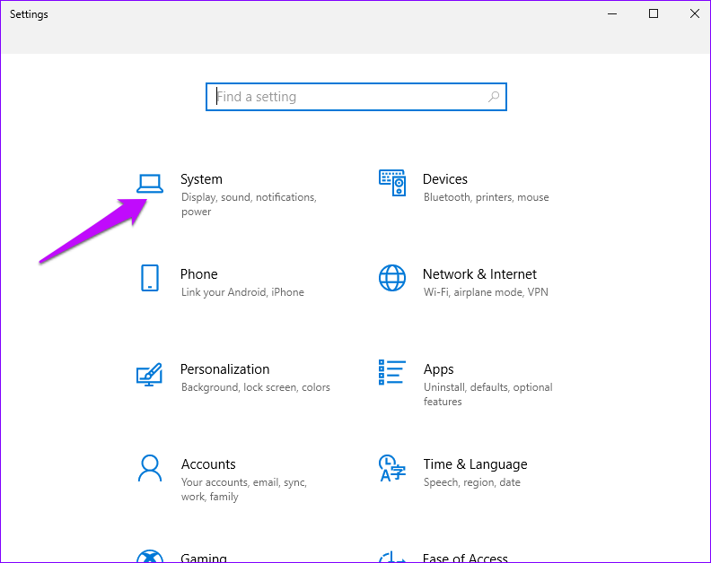 Système de paramètres Windows