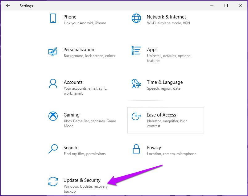 Mise à jour et sécurité des paramètres Windows