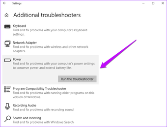 Windows Exécuter l'utilitaire de résolution des problèmes