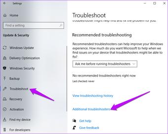 Paramètres Windows Dépannage supplémentaire