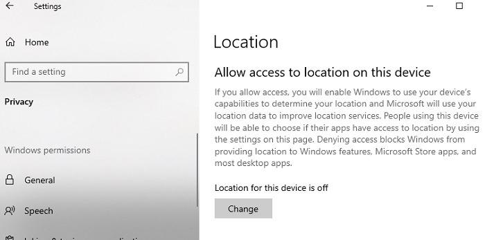 Comprendre votre emplacement est actuellement utilisé dans l'emplacement de Windows 10