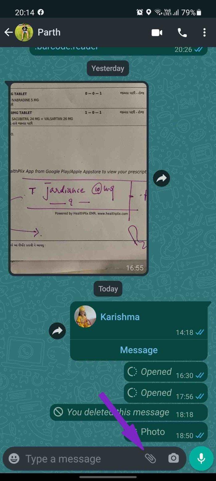 Appuyez sur joindre dans WhatsApp