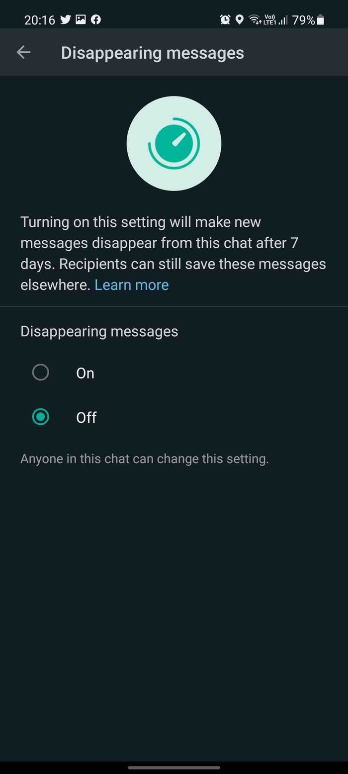 Messages qui disparaissent dans Whats App
