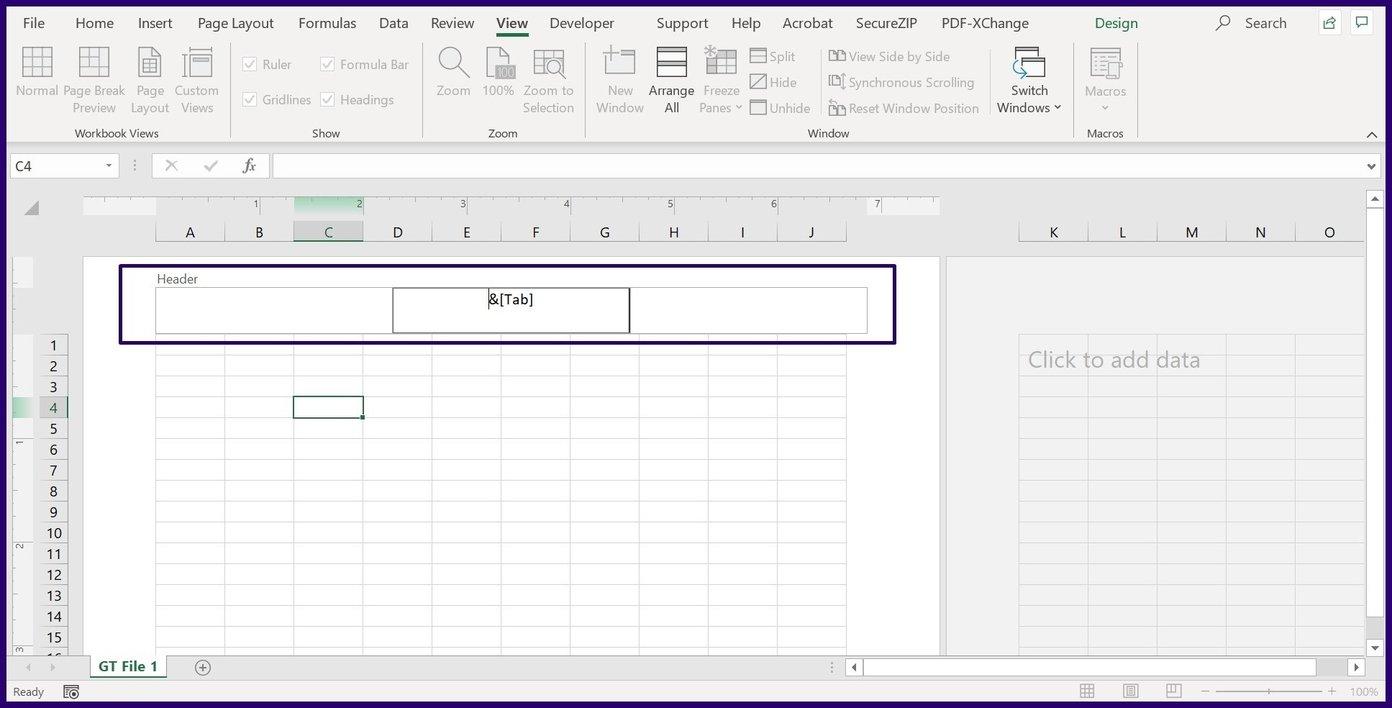 Insérer des en-têtes et des pieds de page dans Excel étape 11