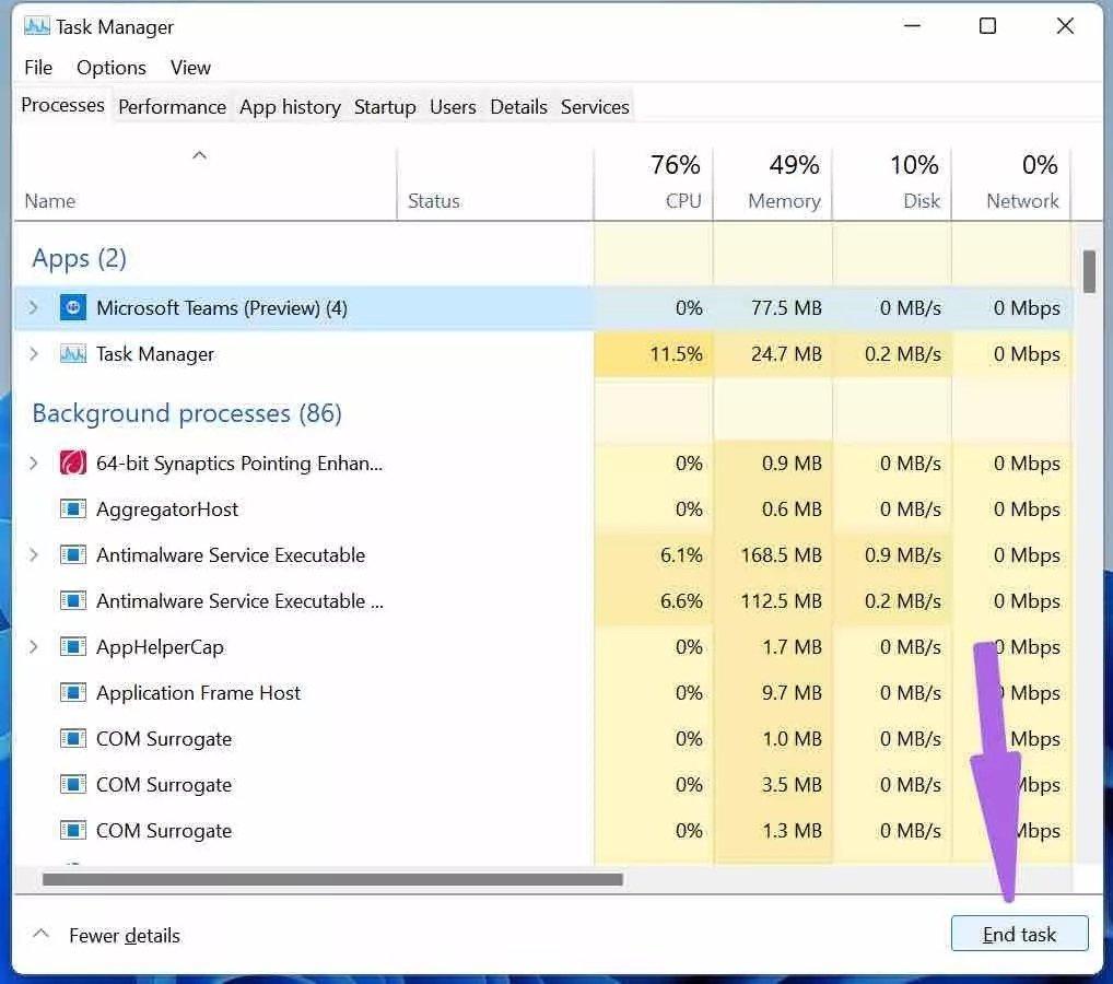Fermer les équipes Microsoft