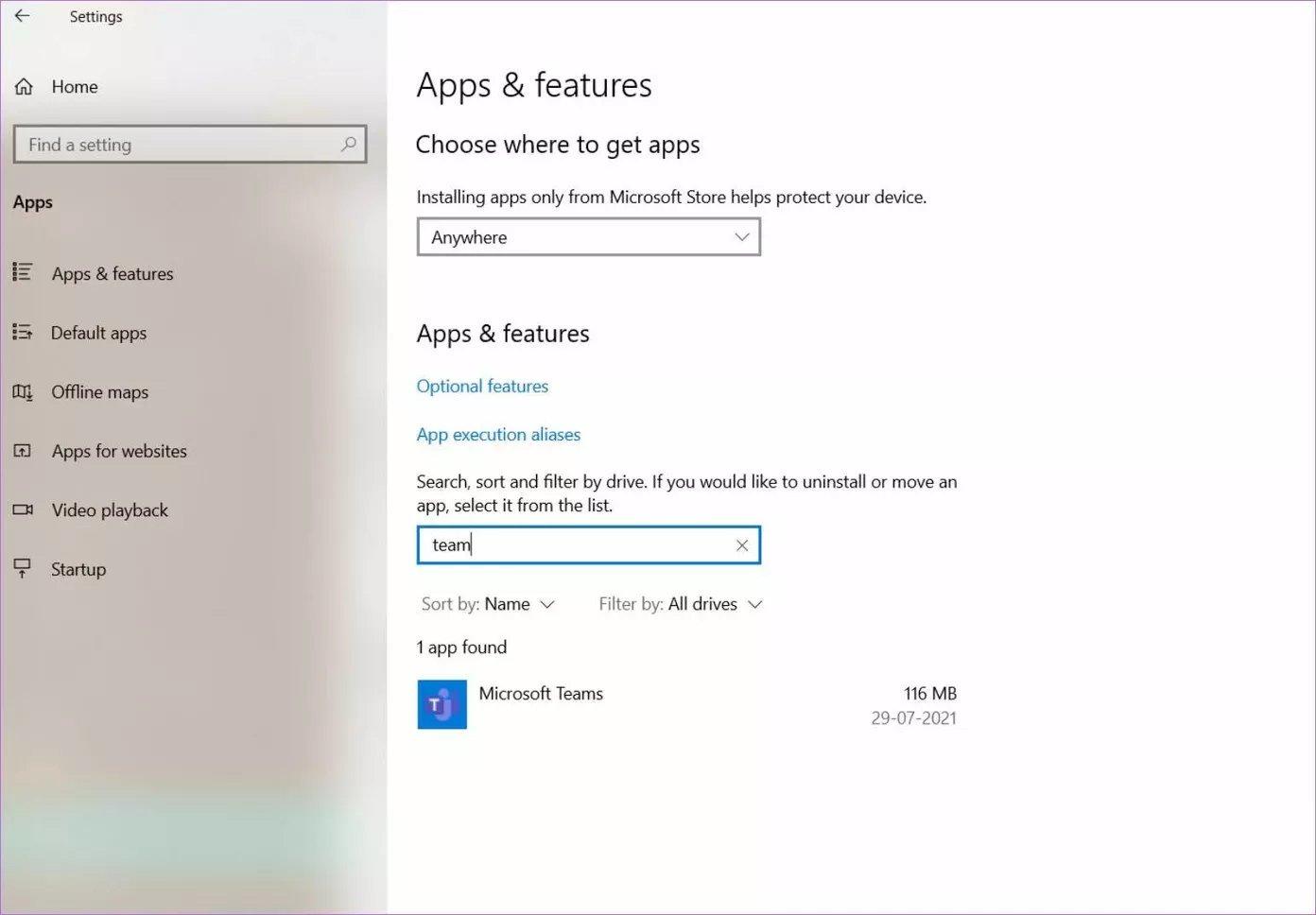Rechercher des équipes Microsoft