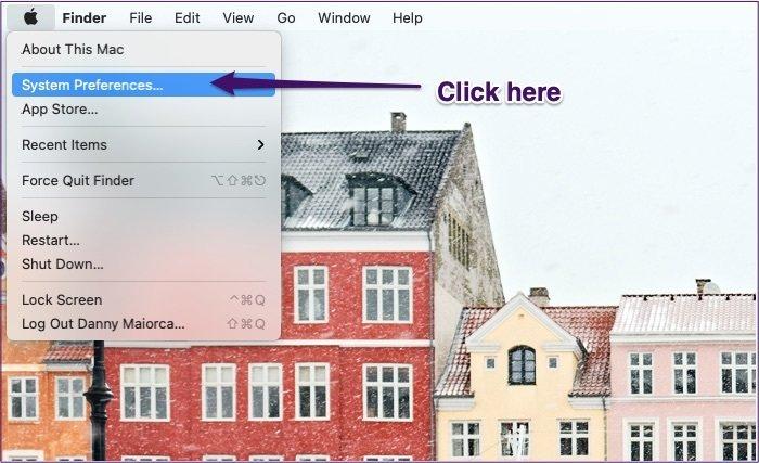 Liste déroulante des préférences système Mac