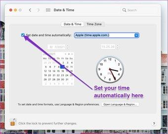 Changer l'heure automatiquement mac