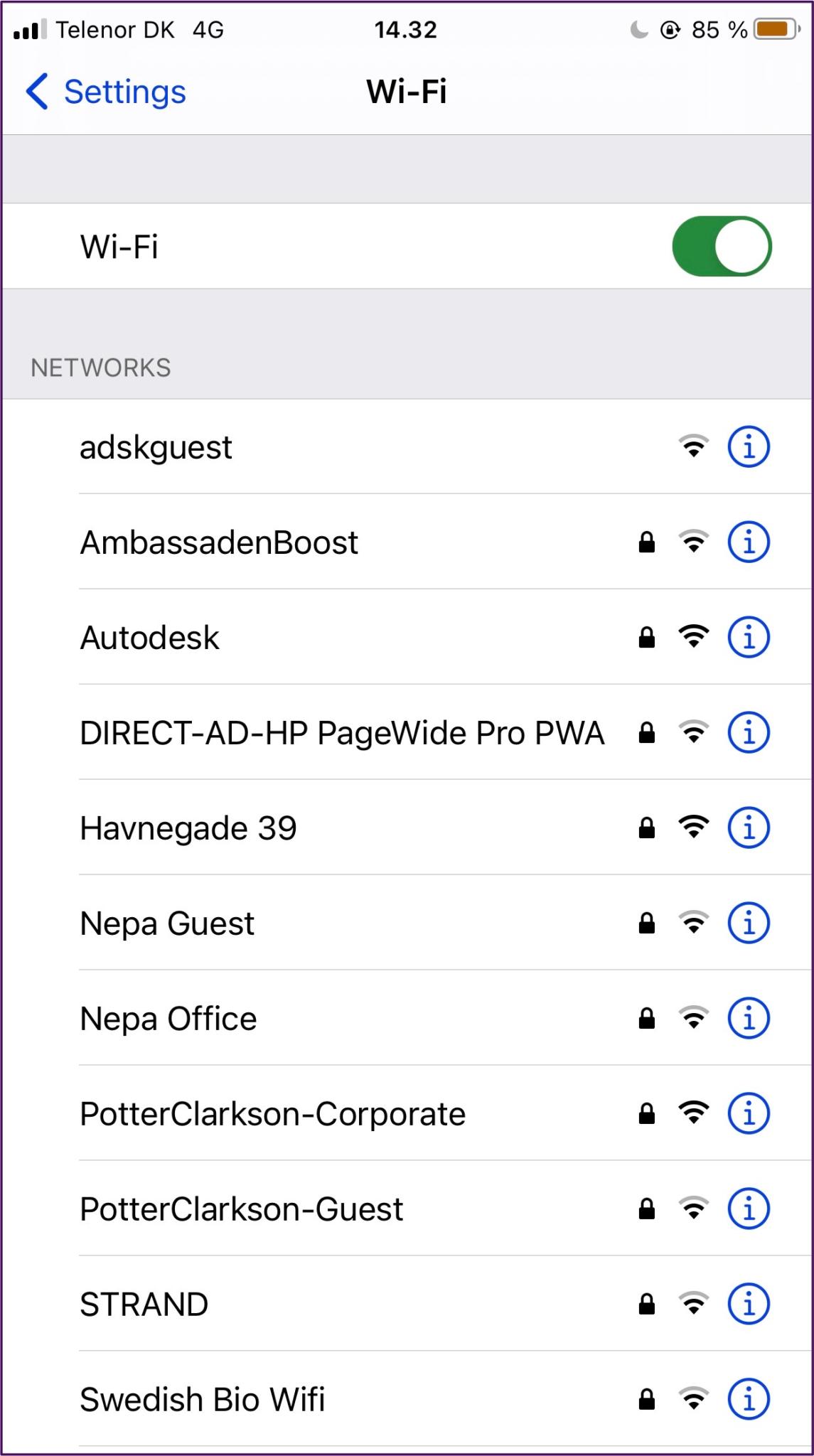 Iphone wifi liste des réseaux