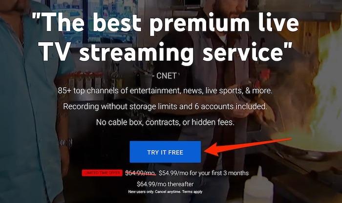 Essai Youtube Tv Premium TV