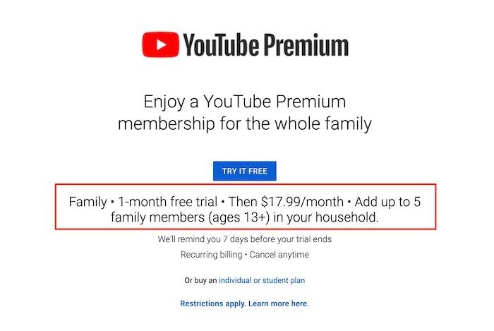 Youtube Tv Premium Premium Famille