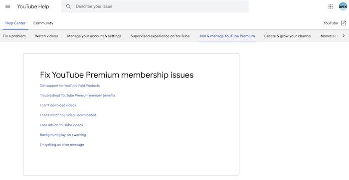 Aide de YouTube Tv Premium Premium