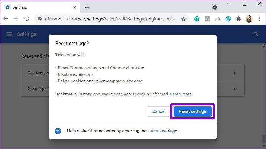Réinitialiser Chrome aux paramètres d'usine