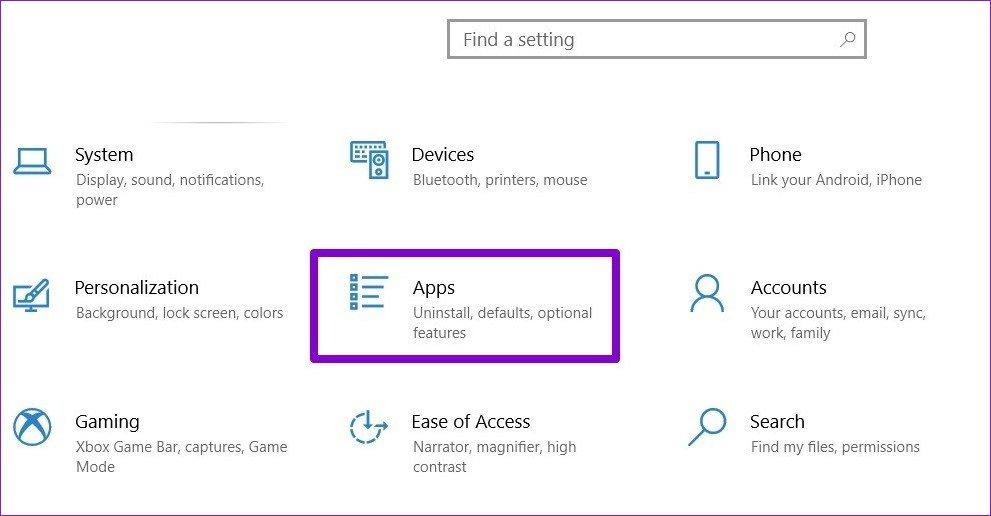 Menu Paramètres dans Windows 10