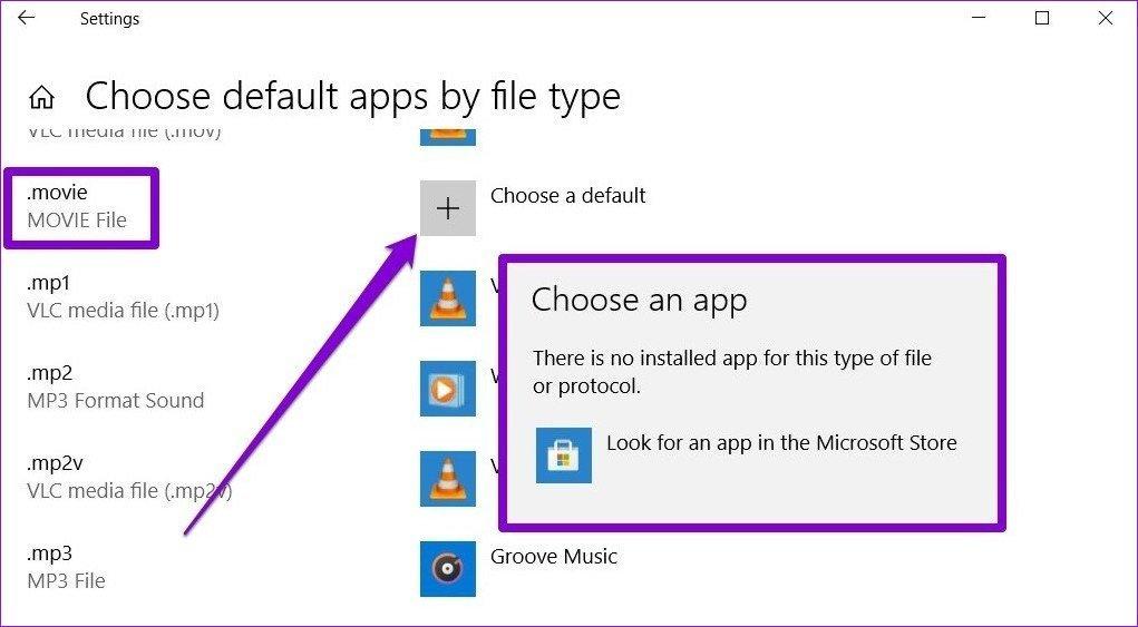 Choisissez une application par défaut pour le type de fichier