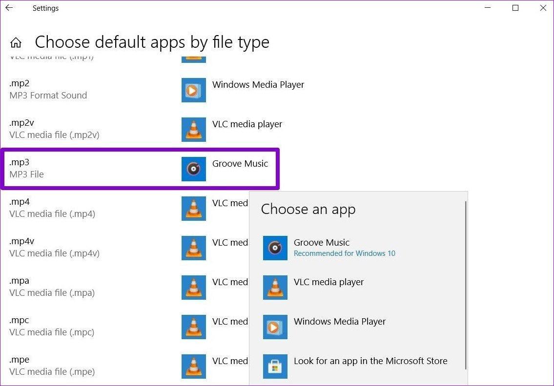 Choisissez par défaut par type de fichier