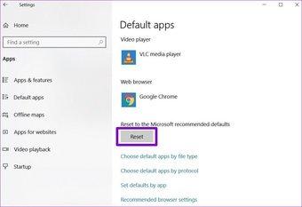 Réinitialiser les applications par défaut sous Windows