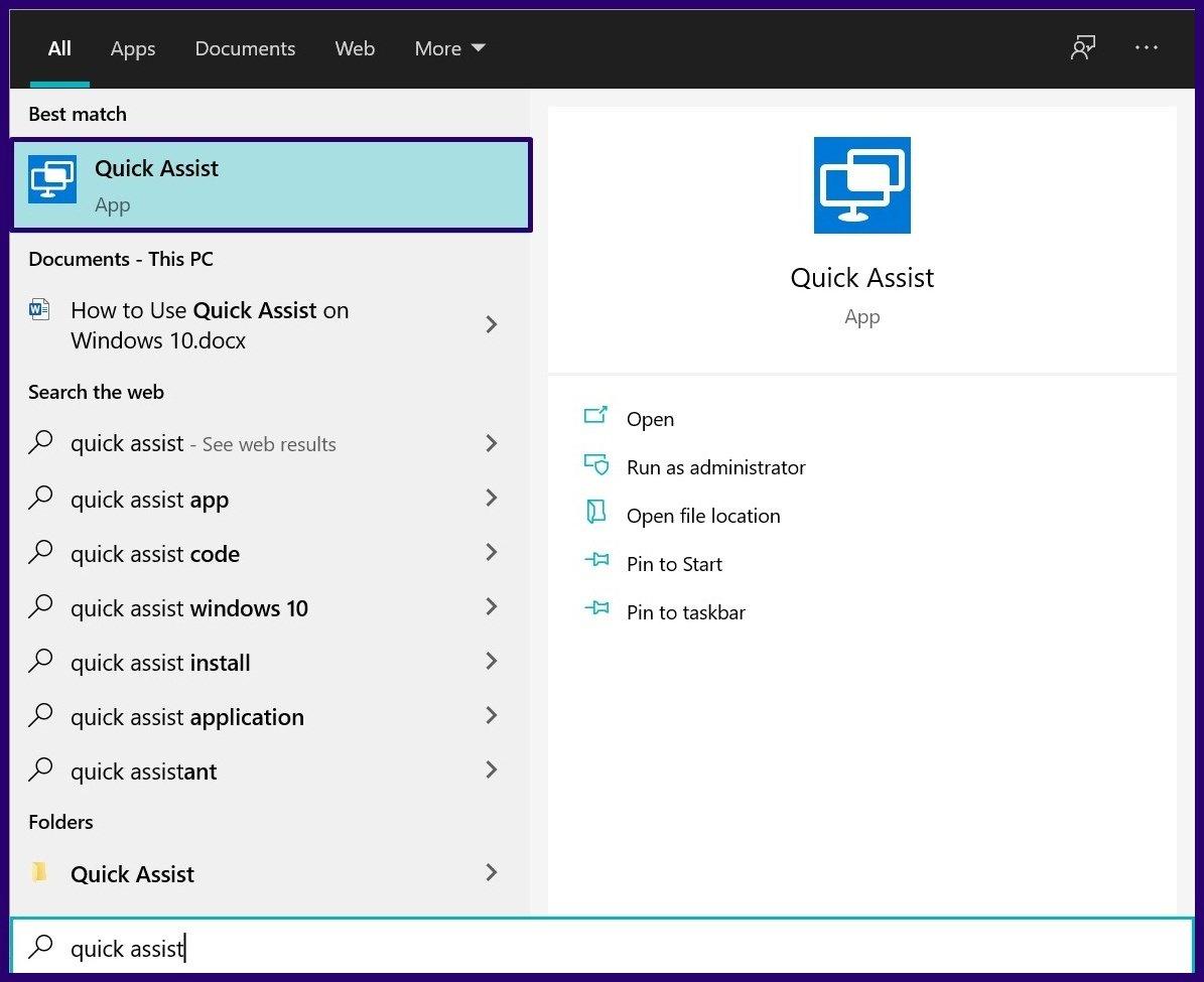 Guide d'utilisation de l'assistance rapide sur Windows 10 étape 1