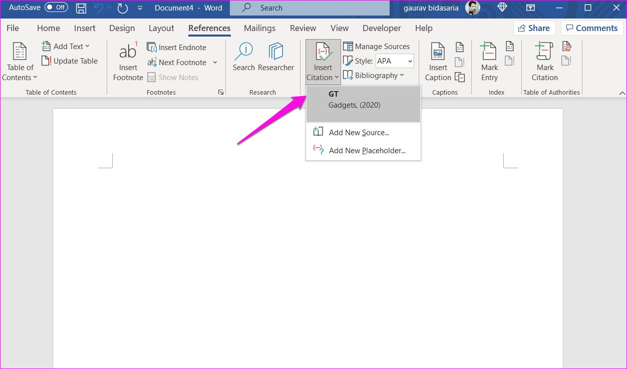 Comment ajouter des citations et une bibliographie dans Microsoft Word 16