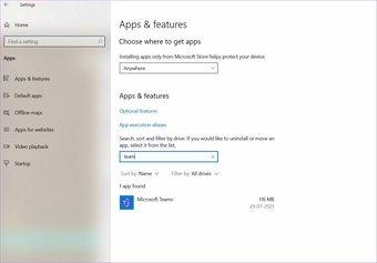 Ouvrir le menu des applications et fonctionnalités