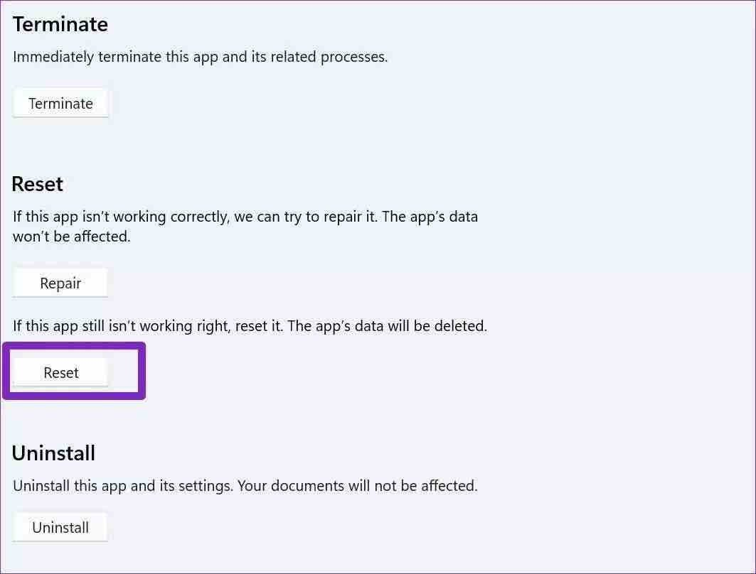 Réinitialiser les équipes Microsoft