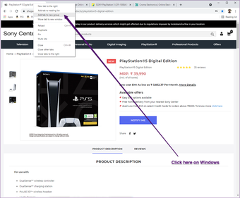 Onglets Windows de Google Chrome