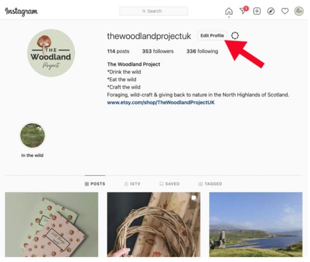 modifier le profil sur Instagram