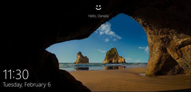Écran de verrouillage de Windows 10.