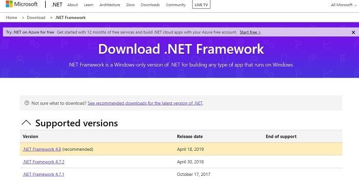 Comment installer Net Framework 20 30 35 dans Windows 10 Microsoft